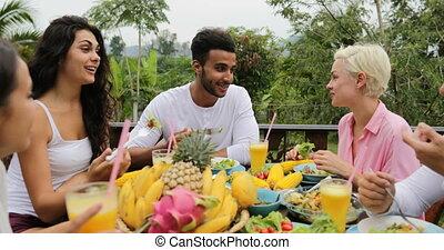 manger, conversation, gens, sain, végétarien, séance, groupe, exotique, jus, terrasse, nourriture, table, tintement, heureux, amis, lunettes