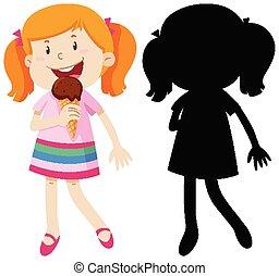 manger, couleur, girl, crème, silhouette, glace