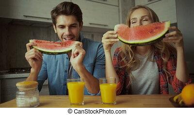 manger, couple, pastèque, breakfast.