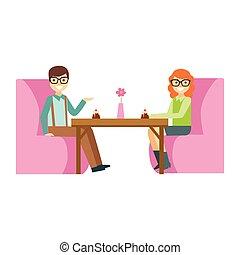 manger, dessert, couple, illustration, gâteau, personne, vecteur, patisserie, doux, date, sourire, café, avoir, lunettes