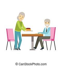 manger, dessert, couple, illustration, personne, vecteur, patisserie, doux, gâteau, vieux, sourire, café, avoir, table