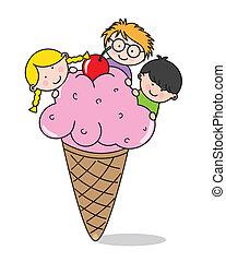 manger, enfants, glace