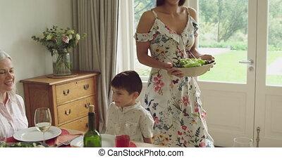 manger ensemble, génération, famille, trois