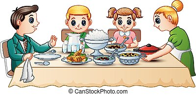 manger, famille, ensemble, dîner, table dîner, heureux