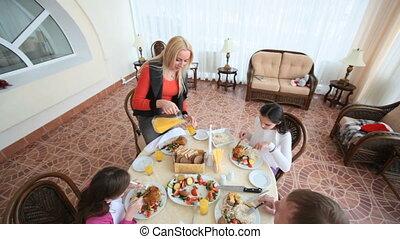 manger, famille, ensemble