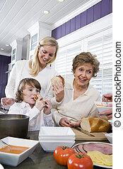 manger, famille, génération, trois, déjeuner, cuisine
