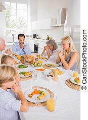 manger, famille, prier, avant
