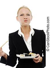 manger, femme affaires, sushi, jeune, portrait, caucasien