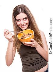 manger, femme, céréales