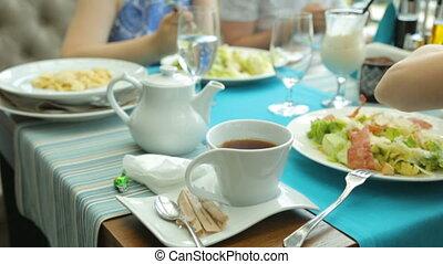 manger, gens, café