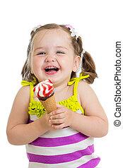 manger, glace, enfant, girl, joyeux, crème