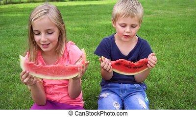 manger, gosses, pastèque, dehors