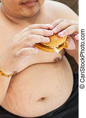 manger, hamburger, graisse, homme assis
