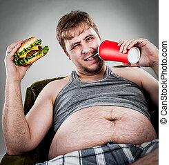 manger, hamburger, gros homme