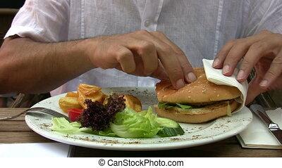 manger, hamburger, homme