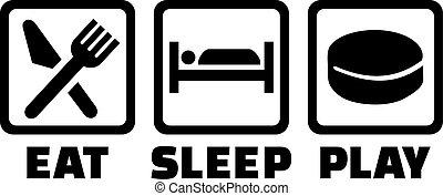 manger, hockey, sommeil, jeu