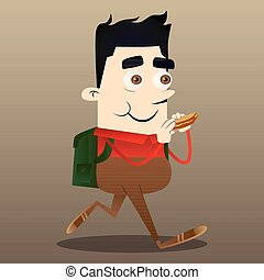 manger, illustration., sandwich., caractère, vecteur, dessin animé, écolier