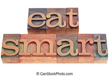 manger, intelligent, dans, letterpress, type
