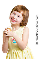 manger, isolé, glace, studio, enfant, girl, crème, heureux