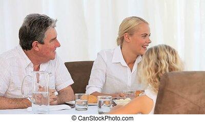 manger, joli, famille