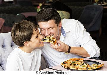 manger, père, fils, pizzeria, italien, pizza