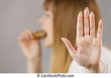 manger, prendre, femme, sandwich, morsure