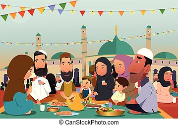 manger, ramadan, ensemble, musulmans, illustration, pendant