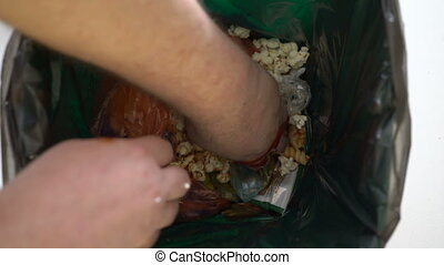 manger, restes, affamé, boîte, creuser, déchets ménagers, homme