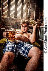 manger, séance, graisse, taudis, hamburger, chaise, homme