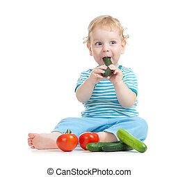 manger, sain, légumes, isolé, nourriture, enfant, heureux