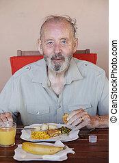 manger, sain, résidentiel, maison, personne agee, repas, soin