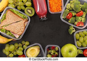 manger sain, sandwich, et, fruits