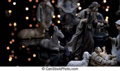 manger scène, geboorte, lichten, figuren, kerstmis