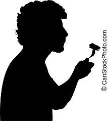 manger, silhouette, nourriture, homme