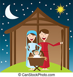 manger vector - cute manger over night landscape with moon...