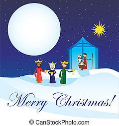 manger vector - cute manger with magi over snow, card....