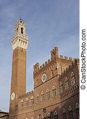Mangia tower, Palazzo Pubblico town hall, Piazza del Campo, Sien