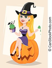 mangiando torta, zucca, strega, augurio, cappello, halloween, seduta, card., signora, bello, pellegrino, il portare