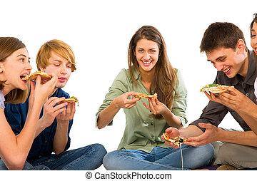 mangiare, adolescenti, pizza
