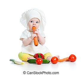 mangiare, cibo, sano, isolato, Cuoco, bambino, bianco, ragazza