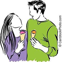 mangiare, coppia, ghiaccio, felice, illus, crema