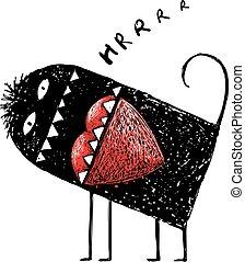 mangiare, cuore, mostro, arrabbiato, comico, amore, rosso
