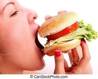 mangiare, donna, hamburger