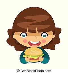 mangiare, donna, hamburger, giovane