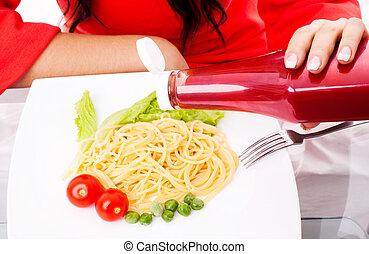 mangiare, donna, spaghetti, ketchup