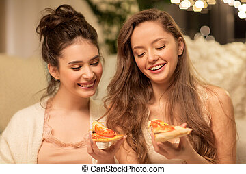 mangiare, femmina, casa, felice, amici, pizza