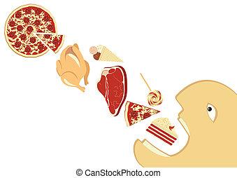 mangiare, fondo, cibo, affamato, lotto, bianco, uomo