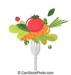 mangiare, fork., sano, verdura, sticked, concept.