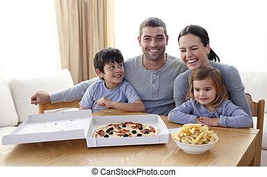 mangiare, giovane famiglia, pizza