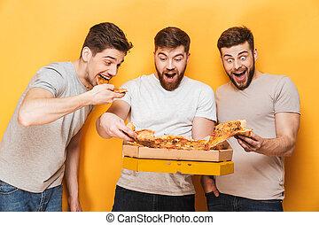 mangiare, grande, uomini, tre, giovane, allegro, pizza